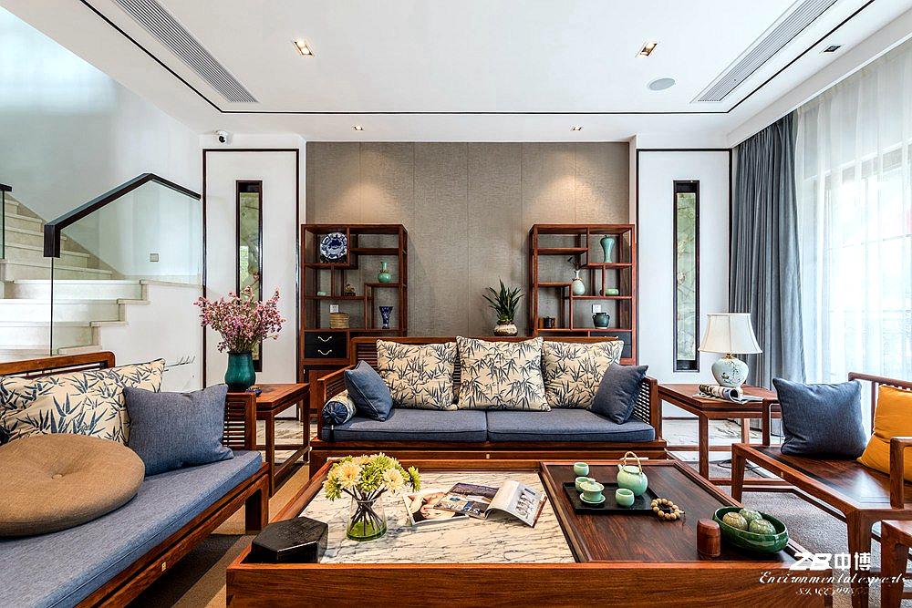 现代中式 中博装饰 别墅 白领 小资 收纳 混搭 客厅图片来自中博装饰在府尚别墅400方现代中式舒适居家的分享
