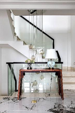 现代中式 中博装饰 别墅 白领 小资 收纳 混搭 楼梯图片来自中博装饰在府尚别墅400方现代中式舒适居家的分享