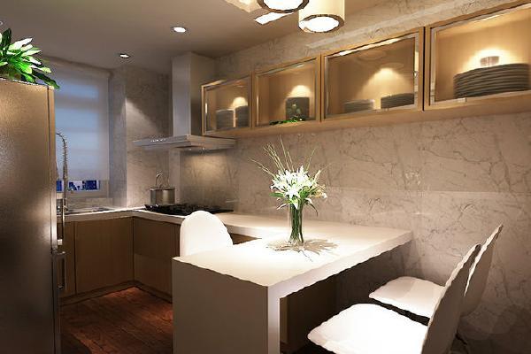 开放式的厨房使布局更为合理,在视觉上延伸了空间,吊柜与吧台的设置扩大了储物空间。
