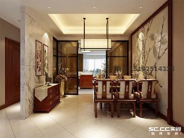 晓港名城新中式三居室175平装修