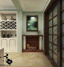 美式装修的壁炉用作玄关如此合拍