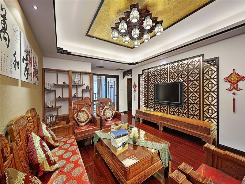 中式 新中式 三居 小资 旧房改造 收纳 客厅图片来自高度国际姚吉智在149平米中式三居尽显东方古韵的分享