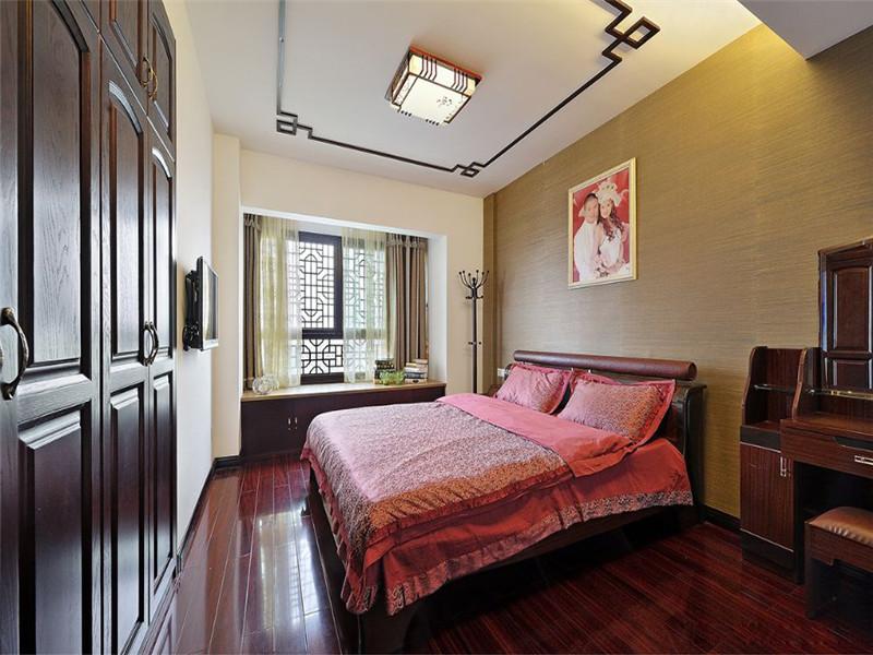 中式 新中式 三居 小资 旧房改造 收纳 卧室图片来自高度国际姚吉智在149平米中式三居尽显东方古韵的分享
