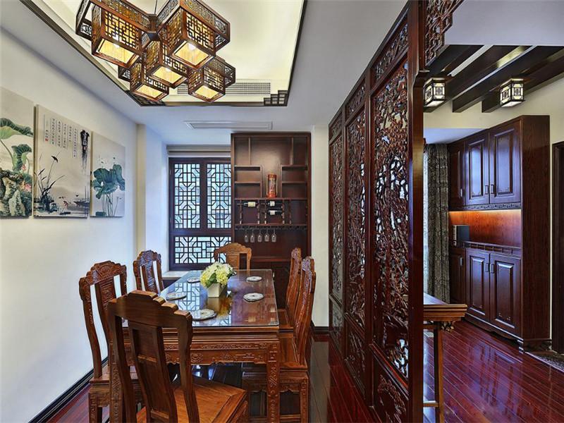 中式 新中式 三居 小资 旧房改造 收纳 餐厅图片来自高度国际姚吉智在149平米中式三居尽显东方古韵的分享