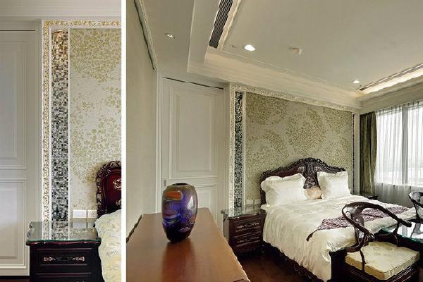 呼应屋主珍藏的中式古典家俱,床头亦选用中式图腾壁布辅以贝壳马赛克缀点华丽度。