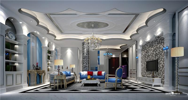 别墅 地中海 客厅图片来自名雕丹迪在观澜高尔夫双拼地中海装修的分享