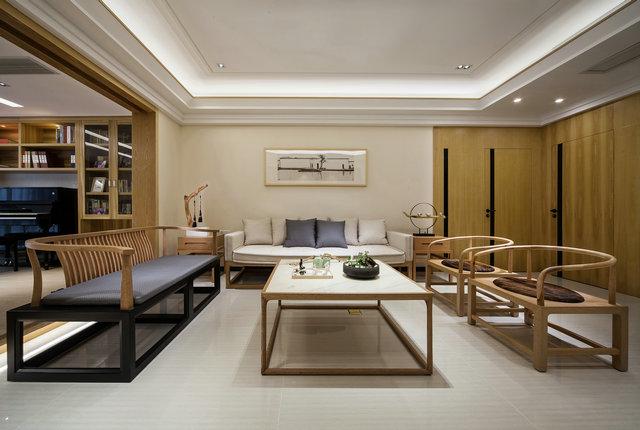 简约 三居 小资 新中式 隐形门 客厅图片来自游小华在新中式---禅意《清风韵》的分享
