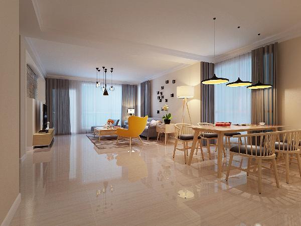 客厅采用布艺和原木结合的沙发,增加沙发的舒适感。并选择非常简单却符合人体工程学的造型。顶面采用阶梯式石膏板造型并加装石膏线增加整体的时尚感和层次感。