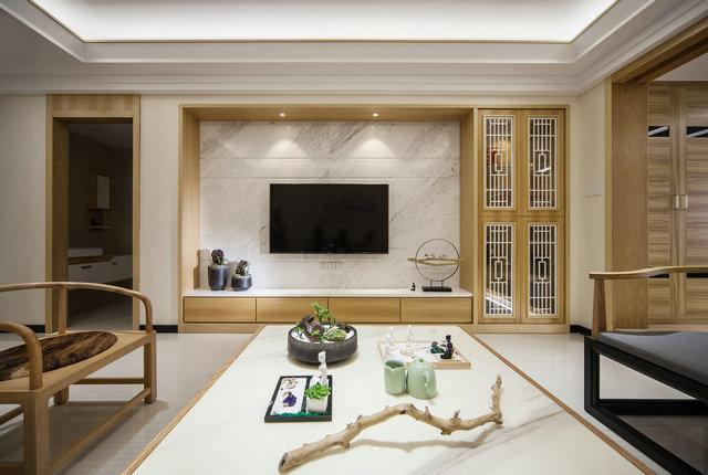 简约 三居 小资 新中式 电视墙 客厅图片来自游小华在新中式---禅意《清风韵》的分享