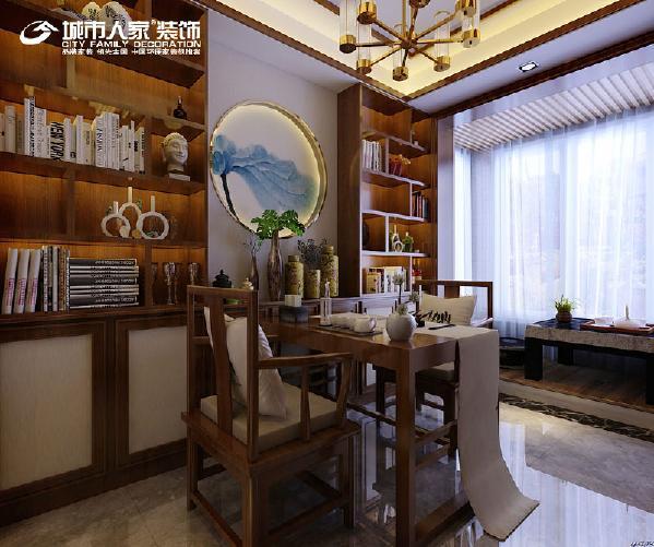 新中式风格书房设计效果图