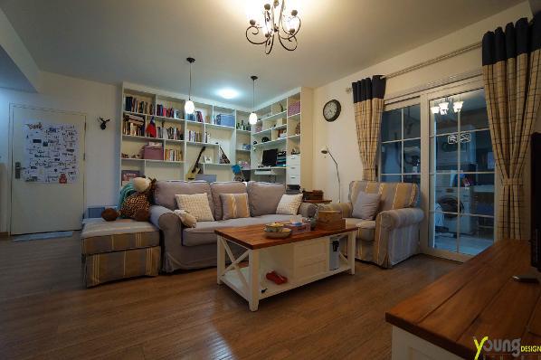【深圳漾空间设计有限公司】漾设计Young Design——客厅背后是小小书库,一片知识的海洋。一派田园之风,温馨十足。