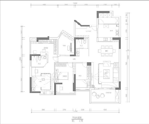 首创漫香郡160平米现代风格平面布置图