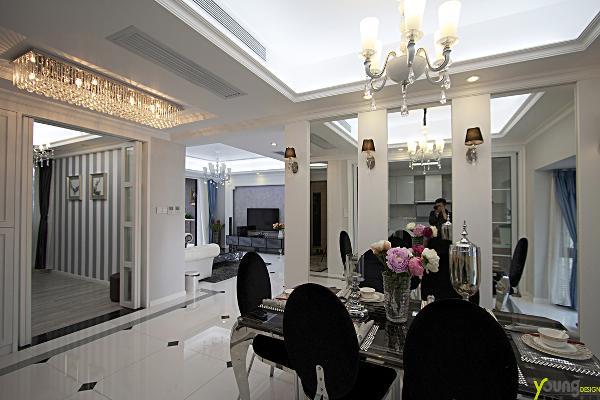 【深圳漾空间设计有限公司】漾设计Young Design——餐厅广角,整体色调为冷色,冷调简欧。
