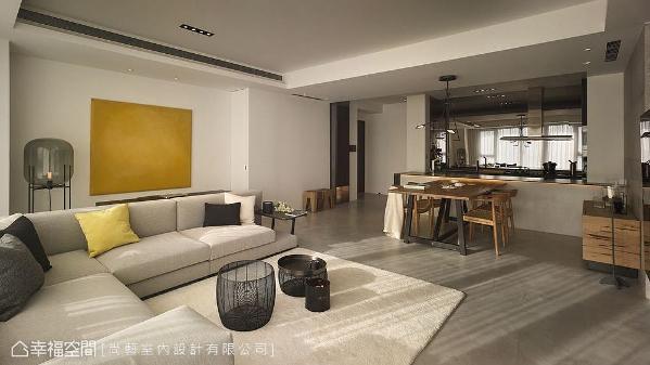 结构式风格灯具、时尚鲜艳的挂画,以及线条现代的桌凳,透过家俬软件为空间注入丰沛的精神能量。