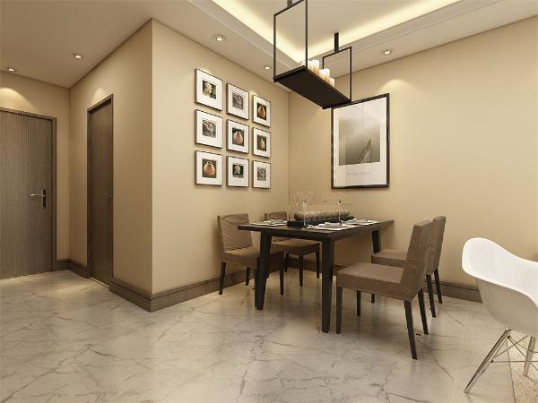 餐厅的设计很简约,墙上暖光打在设计好的装饰画上,不仅提升了家里的韵味,也让业主进餐的时候更加体会到家的温馨舒适,让业主成为家的一部分。