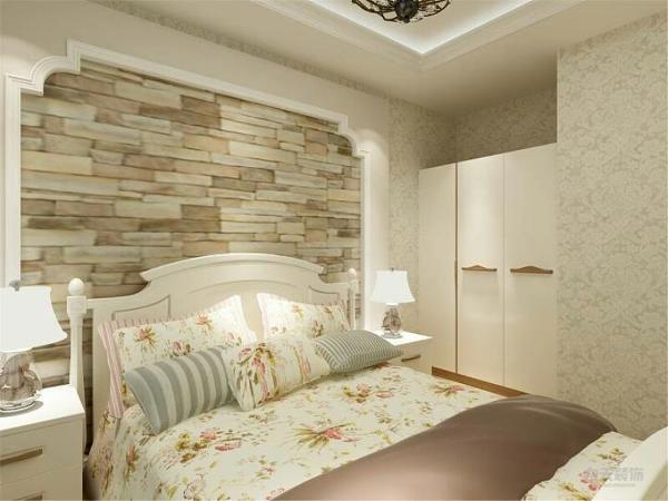 卧室选择带有碎花的壁纸,这样给人更多一些家的感觉,更能突出田园风格的清新和浓郁。