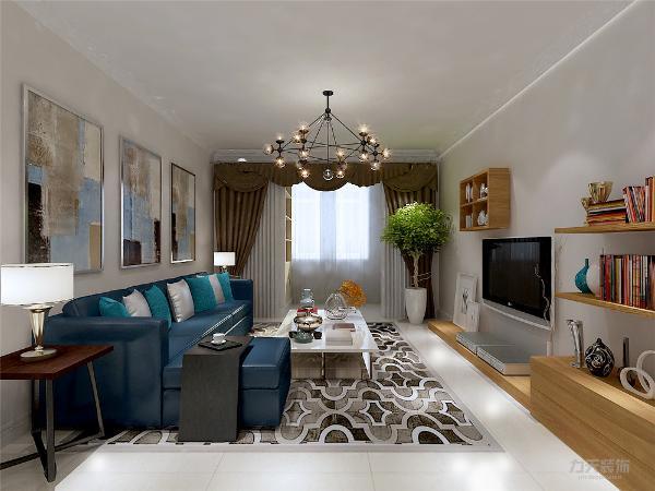 客厅中墙面与地用色较为简单,而且采用的较为简易的花色繁简对比。在全部的装饰物中都是用的极简的线条,看起来简洁、轻快。