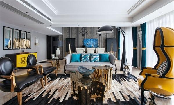 别墅 混搭 小资 三居 卧室 客厅图片来自翼森设计在公园壹号的分享