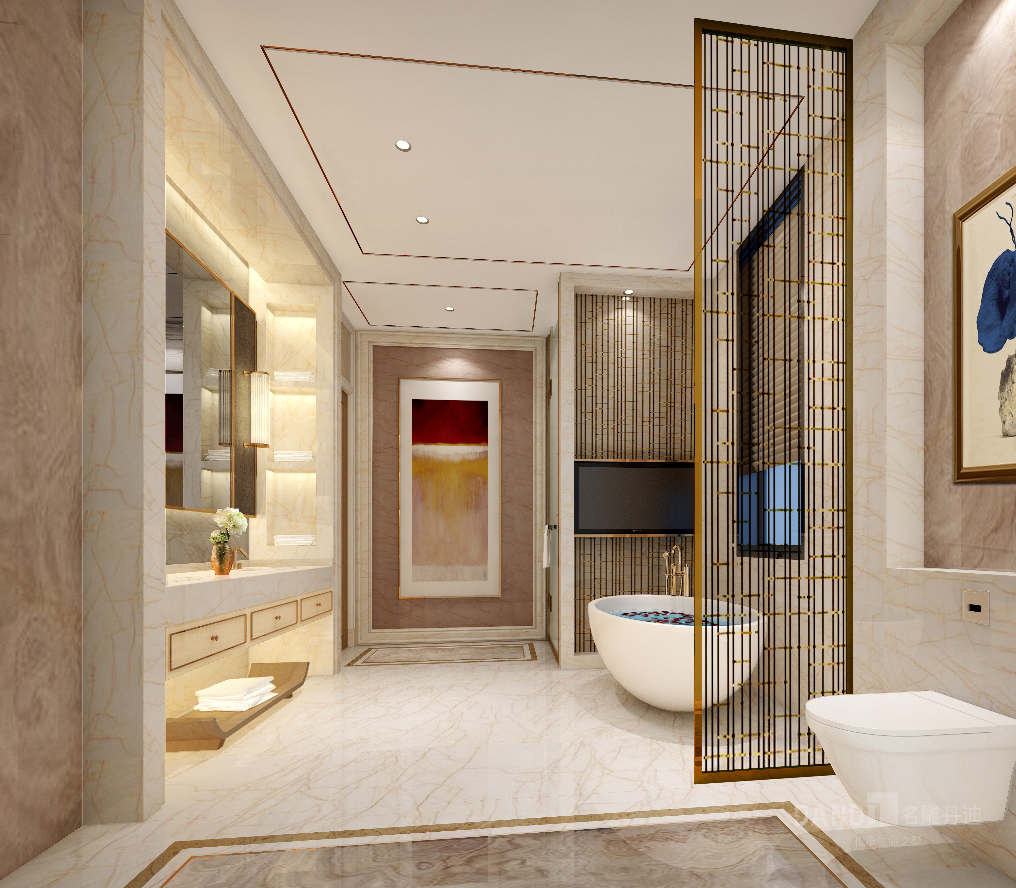 简约 别墅 卫生间图片来自名雕丹迪在纯水岸现代风格别墅装修的分享