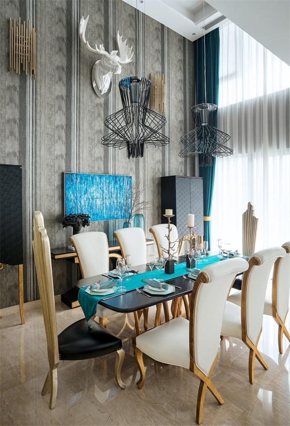 别墅 混搭 小资 餐厅 厨房 客厅图片来自翼森设计在公园壹号的分享