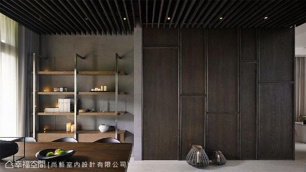 透过灰阶与木色调和无造作感空间温度,尚艺室内设计以洗炼流畅的生活美学,挹注品味深度。