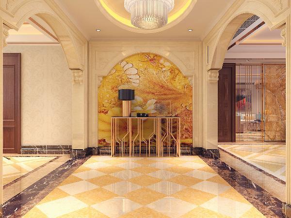 玄关以带有欧式风格的拱形门为主,吊灯更是豪华大气