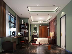 中式 新中式 别墅 小资 大户型 高帅富 白富美 长阳半岛 卧室图片来自高度国际姚吉智在长阳半岛300㎡新中式禅意东方的分享