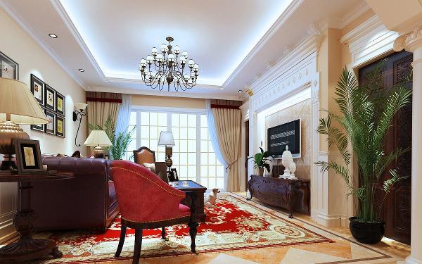 客厅的真皮沙发让人感觉空间的重点就在这里。与电视柜相呼应。