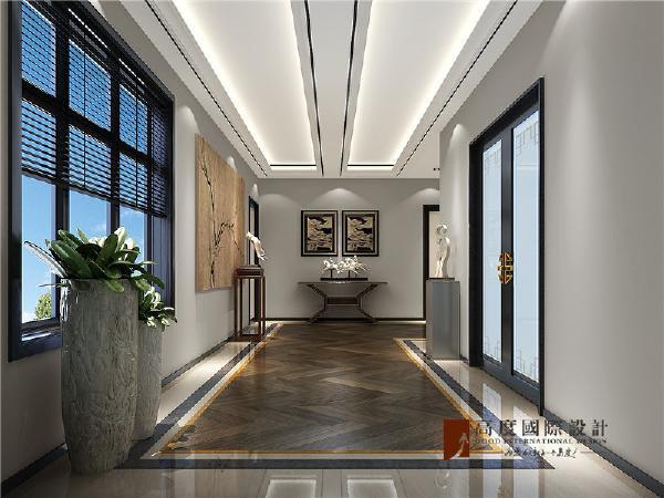 门厅偌大的窗户,恰到好处的借了室外的景,使得在视觉上使门厅空间看着更加有层次感。