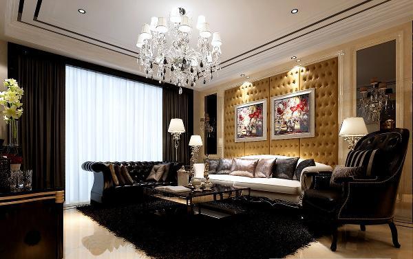 客厅黑色地毯,彰显奢华。主色调黑白色,现代简约风。沙发缺是欧式风格,缺又不失时尚。