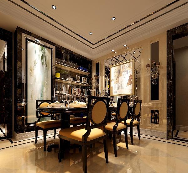 餐厅主要色调是暖黄色,增加食欲,同时隐形门让人感觉餐厅空间十分明显。没有同厨房在一起。这一点设计师做的很到位。