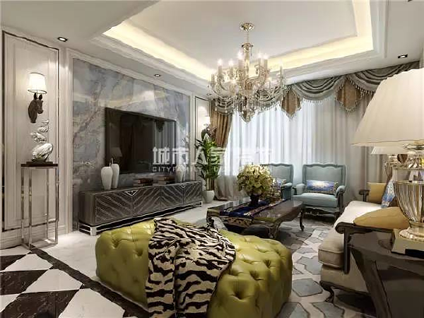 客厅电视背景墙是主人品味的象征,体现了主人品格,造型简单又大方又富有格调。