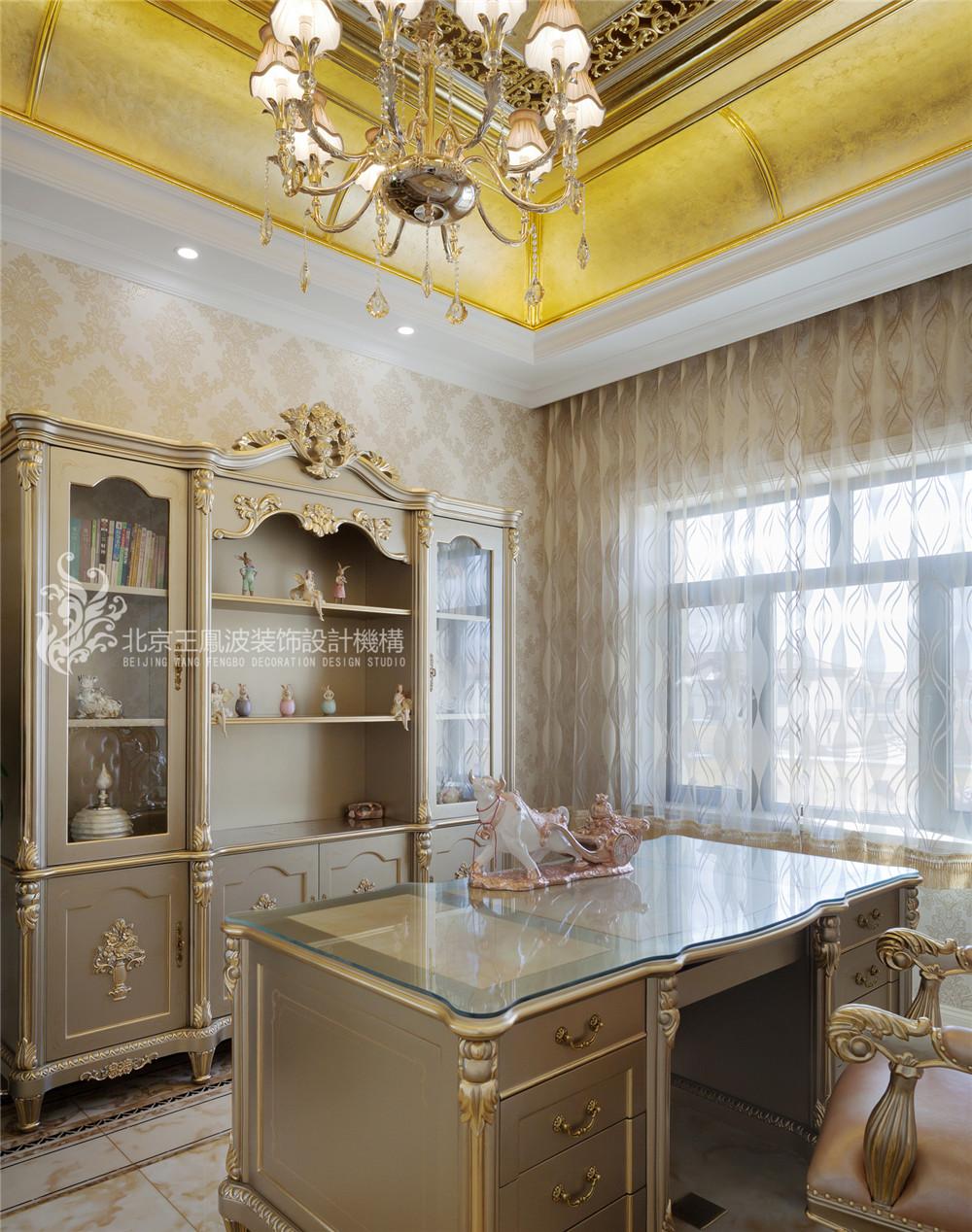 乌兰浩特碧 欧式别墅设 470平 三居 别墅 欧式 书房图片来自王凤波设计机构在乌兰浩特碧桂园二欧式别墅设计的分享