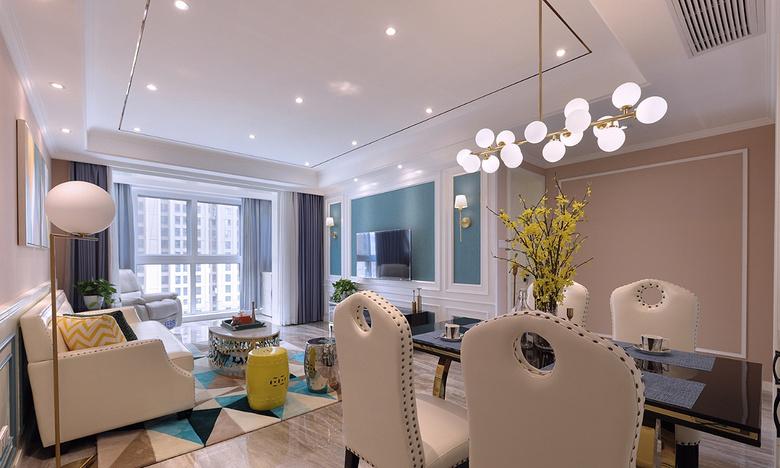 客厅图片来自家装大管家在心中的星光 108平简欧雅致3居室的分享