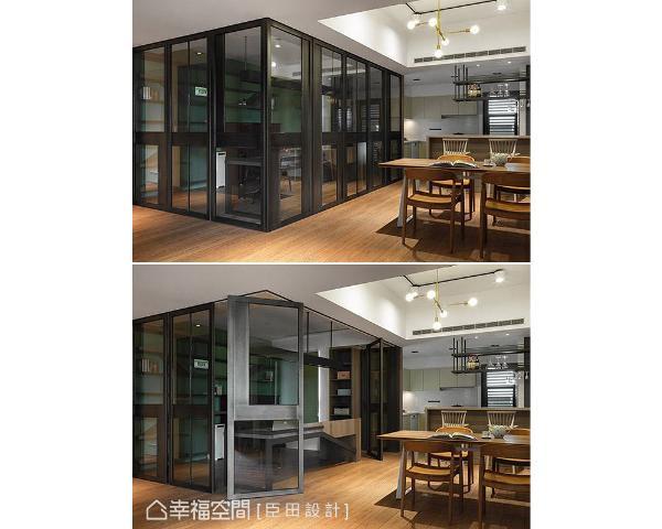 臣田设计特别选用万向轨道作为书房隔间,透过其特殊结构可随意变换拉门位置,让空间具备高度灵活性。