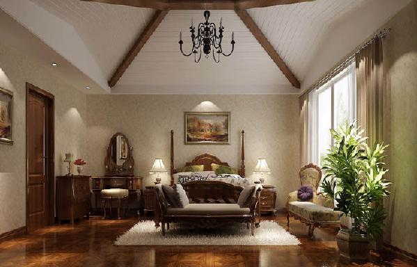 卧室穹顶氏的吊顶,有美式的乡村风情的同时,又带有法师的浪漫。