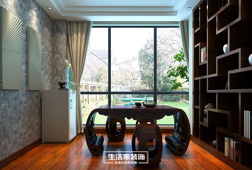 新中式 小资 三居 生活家装饰 装修预算 书房图片来自合肥生活家装饰许欣在格调高雅148平新中式风格的分享