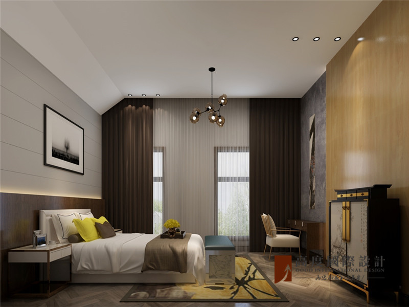 简约 别墅 80后 小资 大户型 高帅富 卧室图片来自高度国际姚吉智在格拉斯小镇350㎡现代简单不落俗的分享