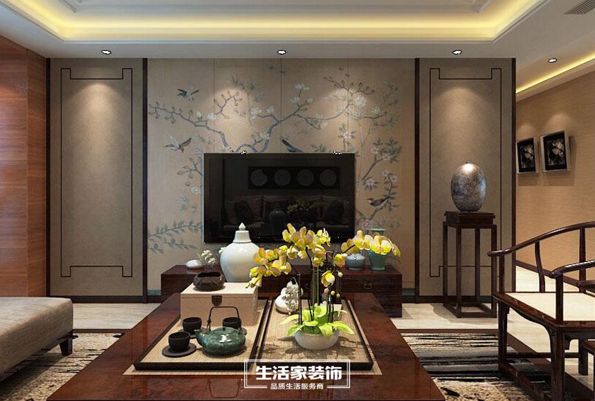新中式 小资 三居 生活家装饰 装修预算 客厅图片来自合肥生活家装饰许欣在格调高雅148平新中式风格的分享