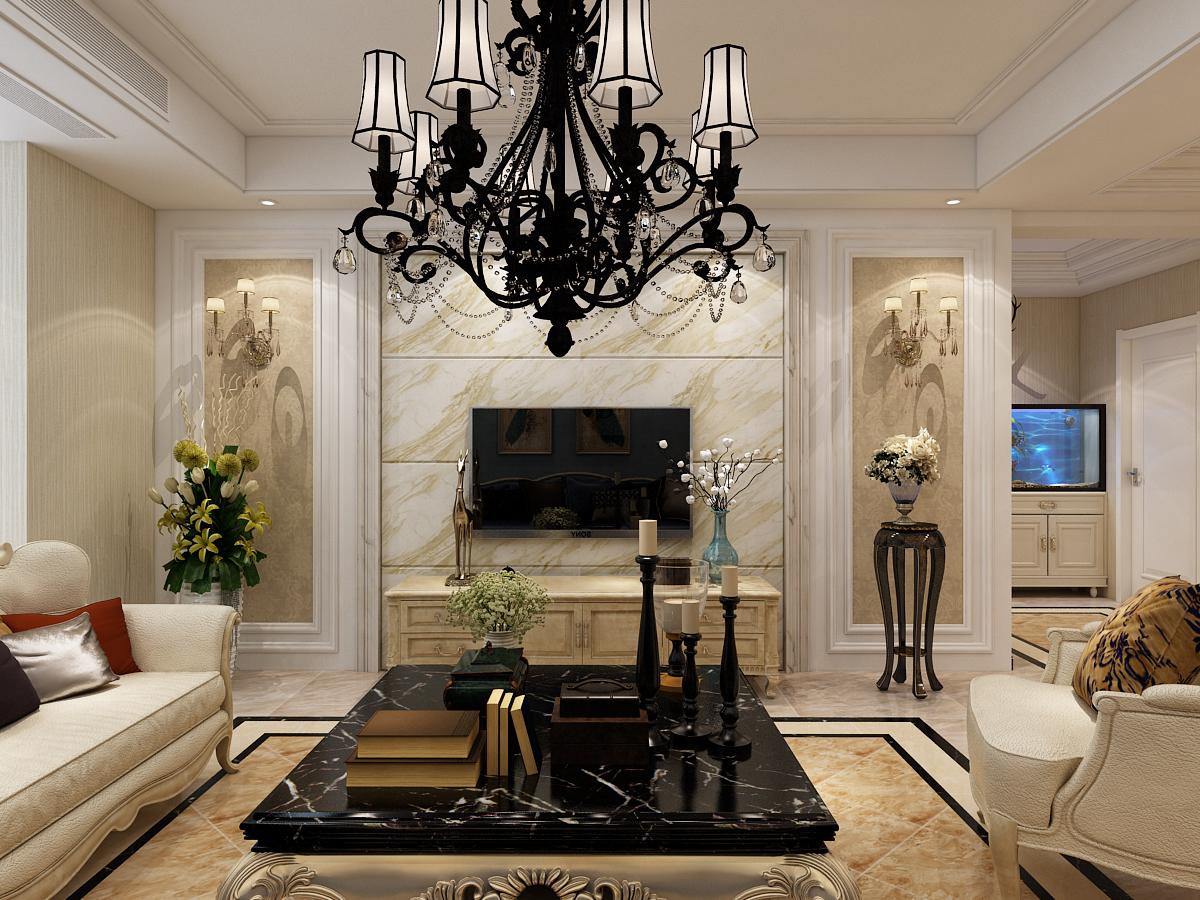 客厅 吊顶 吊灯 客厅图片来自石家庄大业美家装饰在大业美家—远见200平简欧风格的分享