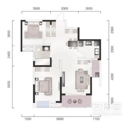 地中海 二居 白领 收纳 旧房改造 80后 小资 户型图图片来自乐粉_20160927144235439在融科天域88平地中海风格的分享