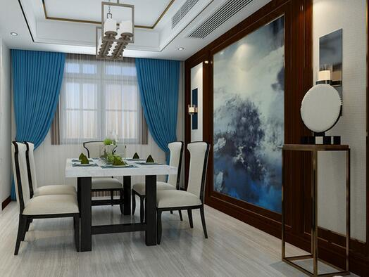 【名士华府-餐厅】餐厅中以浅色的柔美带动着武汉整装装修空间的氛围,冰雪山脉风景图与窗帘谐趣和韵,让空间多了份宁静。