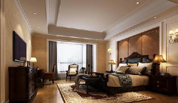 【朗诗里程-卧室】欧式家具沿袭着传统贵族的气质,雕刻出一个沉稳、实用的武汉全包装修空间。