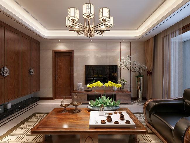 新中式 朱雀云天 西安装修 装修报价 装修公司 客厅图片来自西安城市人家装饰王凯在朱雀云天180㎡新中式风格的分享