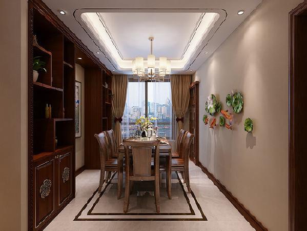 深色系酒柜带出中式风的雅致,在此基础上,餐厅做了适当改良,餐桌椅则简化很多,变得更为轻盈。