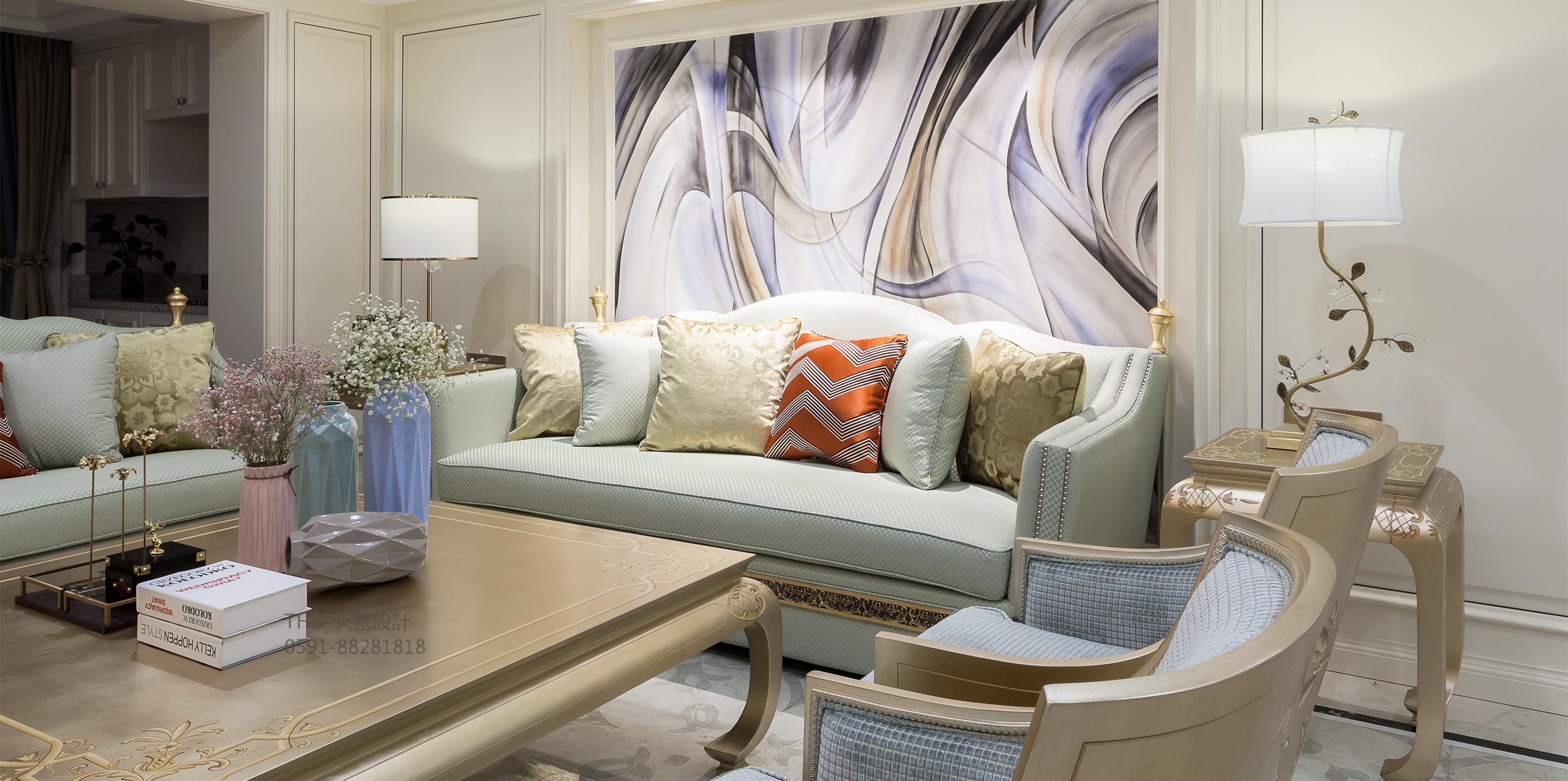美式、法式 现代美式 简约美式 天汇设计 游小华 客厅图片来自游小华在法式轻奢《White Rose》的分享