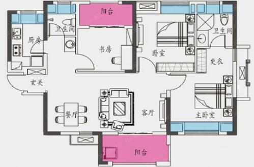 中式 三居 白领 收纳 80后 小资 户型图图片来自乐粉_20160927144235439在复地悦城102平中式风格的分享