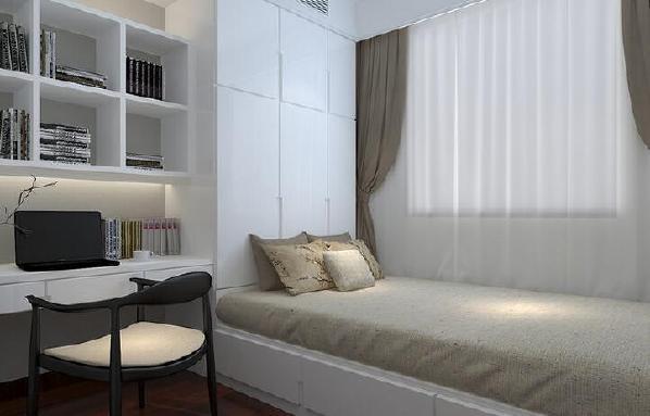 【海昌天澜-卧室】武汉全包装修卧室的收纳功能十分强大,内嵌式书柜,柜床一体的这种设计,舒适而简约。