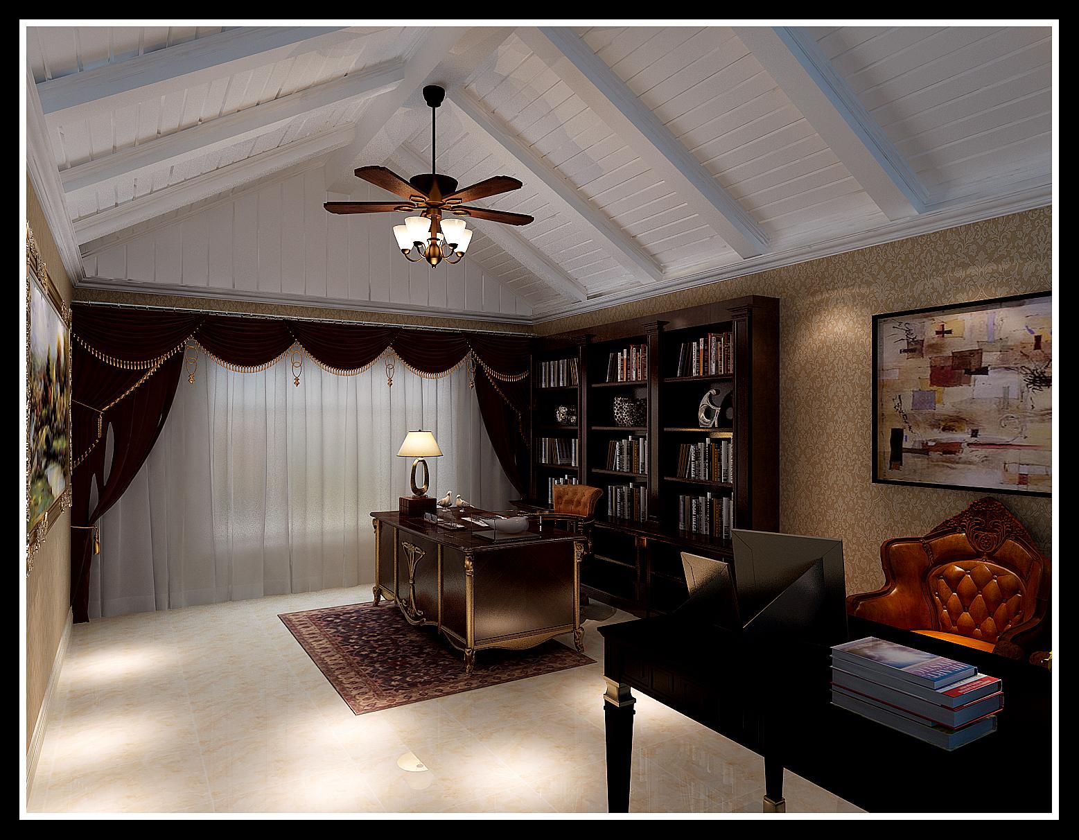 书房 吊顶 书房图片来自石家庄大业美家装饰在藁城自建别墅—豪华欧式风格的分享