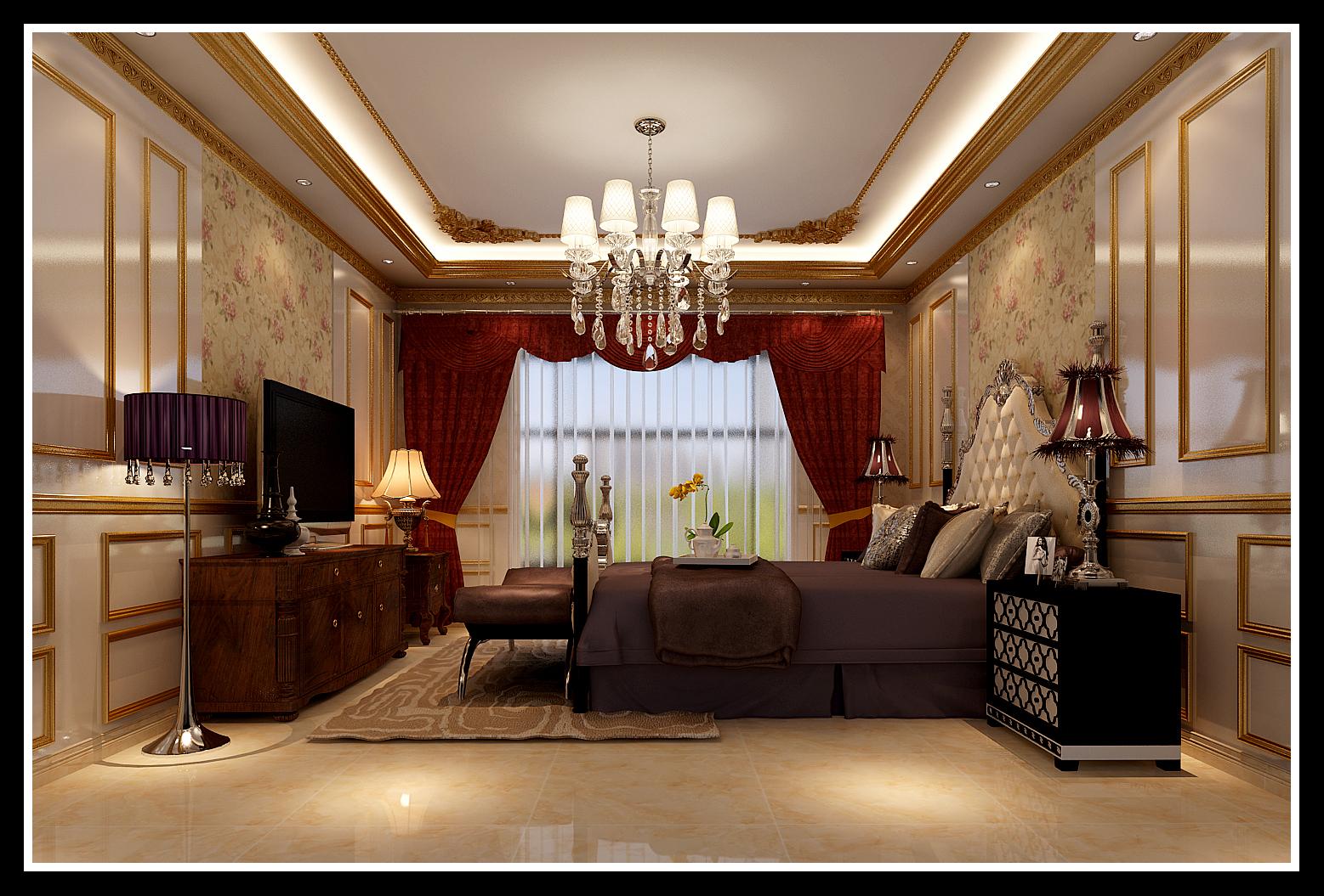 卧室 储物柜 背景墙 吊灯 卧室图片来自石家庄大业美家装饰在藁城自建别墅—豪华欧式风格的分享